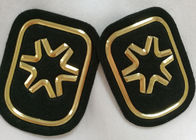Black And Gold Embossed 3D Rubber Patches Custom  Badges For Soprtswear